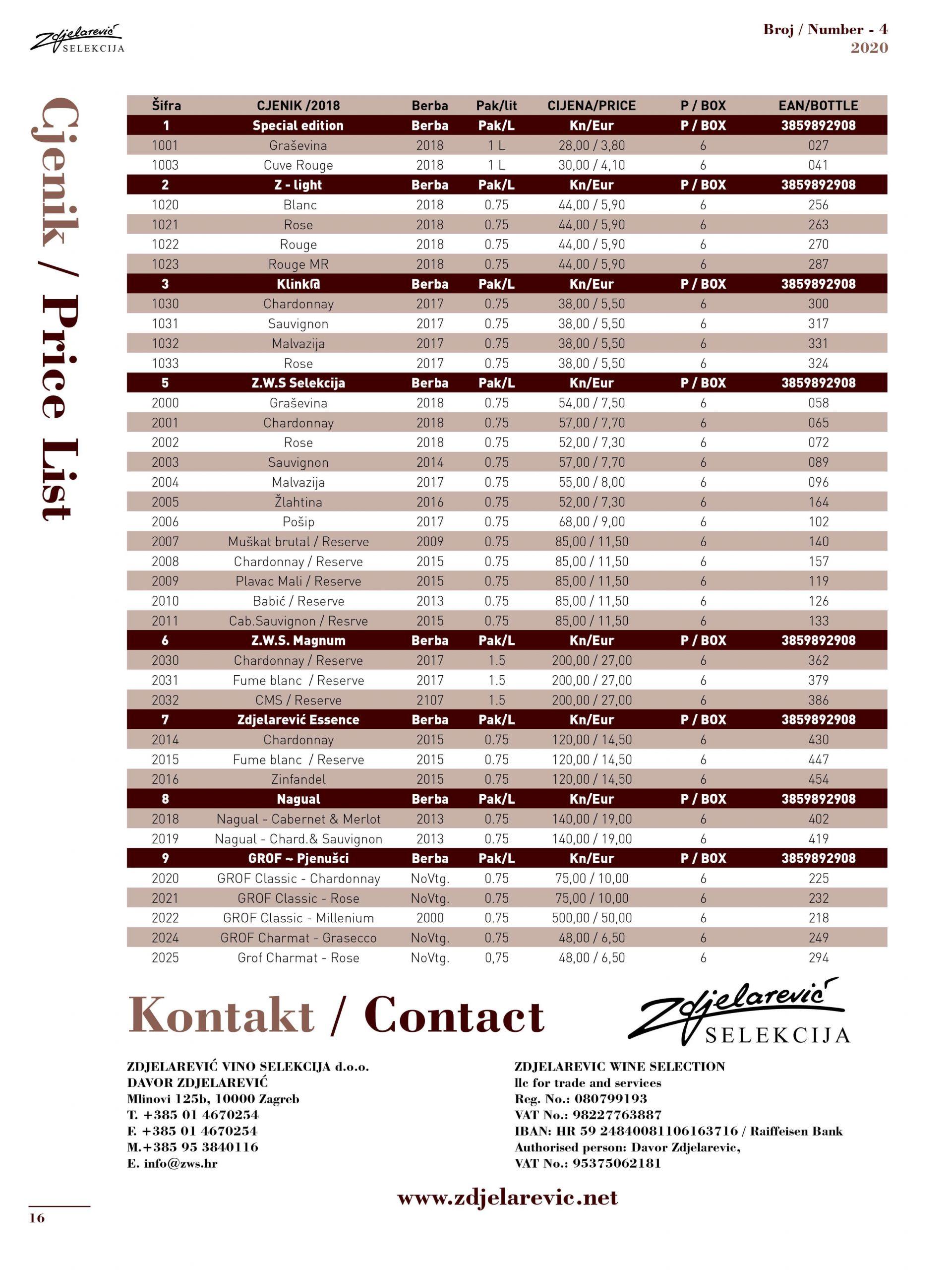 Katalog i cjenik - Zdjelarević Vino